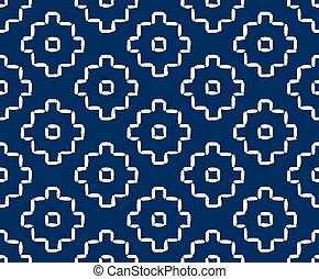 Hand drawn seamless indigo folk pattern - Hand drawn...