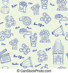 Hand Drawn Seamless Movies Icons