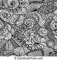Hand drawn seamless pattern with various elements, flowers,...