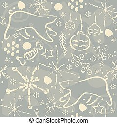 Hand Drawn Seamless Pattern on blue