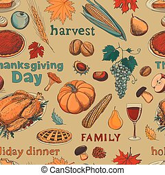 Hand drawn seamless pattern thanksgiving
