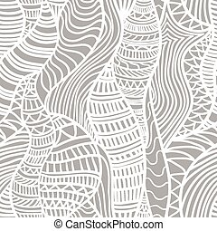 Hand drawn seamless pattern with various elements, lines,...