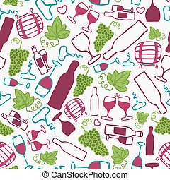 Hand-drawn seamless pattern. Vector illustration. Wine theme