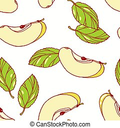 Hand drawn seamless pattern with apple. Background for cafe, kitchen or food package