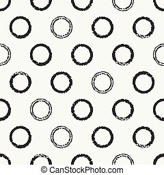 Hand drawn seamless pattern with black grunge rings, circle. Wrapping paper. Abstract vector background. Brush strokes ink rings. Casual texture. Doodle. Dry brush. Rough edges ink illustration.