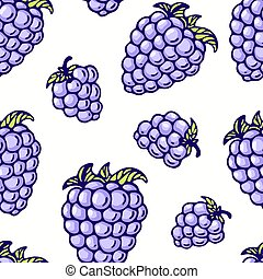 Hand drawn seamless pattern with blackberry. Background for cafe, kitchen or food package