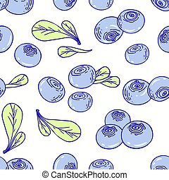Hand drawn seamless pattern with blueberry. Background for cafe, kitchen or food package