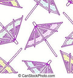 Hand drawn seamless pattern with cocktail umbrellas. Background for cafe, kitchen or food package
