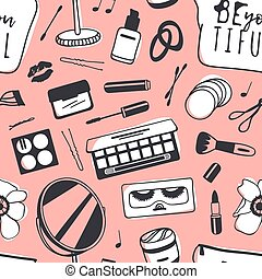 Hand drawn seamless pattern with cosmetics. Vector...