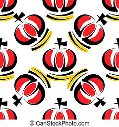 Hand drawn seamless pattern with crowns. Vector