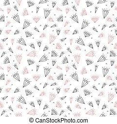 Hand drawn seamless pattern with cute diamonds