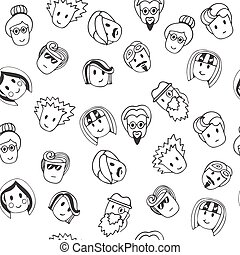 Hand drawn seamless pattern with cute faces