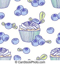 Hand drawn seamless pattern with doodle cupcake and...