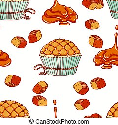 Hand drawn seamless pattern with doodle cupcake and caramel...