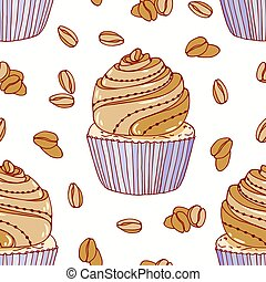 Hand drawn seamless pattern with doodle cupcake and coffee buttercream. Food background