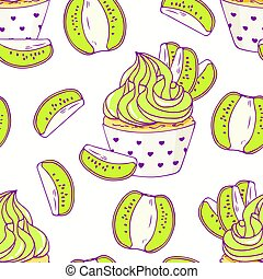 Hand drawn seamless pattern with doodle cupcake and kiwi...
