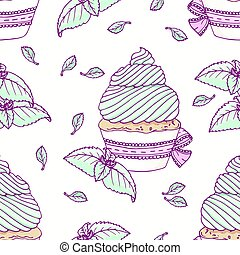 Hand drawn seamless pattern with doodle cupcake and mint...
