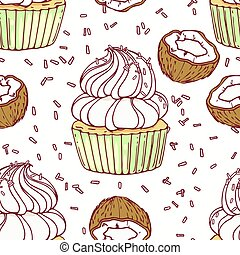 Hand drawn seamless pattern with doodle cupcake, coconut and...
