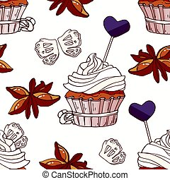Hand drawn seamless pattern with doodle cupcake, stars of anise, licorice candy and buttercream. Food background