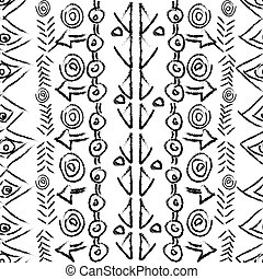 Hand drawn seamless pattern with ethnic geometrical motifs