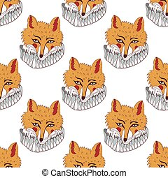 Hand drawn seamless pattern with fox