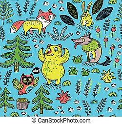 Hand drawn seamless pattern with funny colorful animals