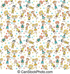 Hand drawn seamless pattern with happy children. Funny background