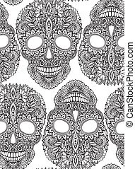 Hand drawn seamless pattern with human skulls in ornate style
