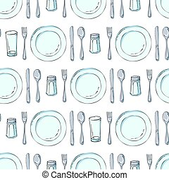 Hand drawn seamless pattern with Kitchen Utensils. Original doodle style drawing for actual design.