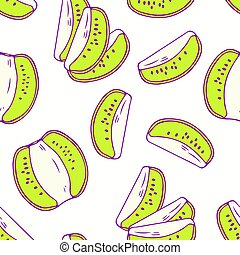 Hand drawn seamless pattern with kiwi. Background for cafe, kitchen or food package