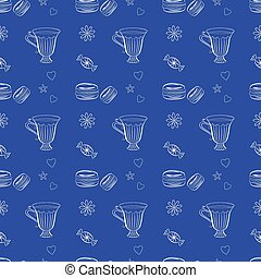 Hand drawn seamless pattern with macaroons and teacups