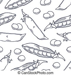 Hand drawn seamless pattern with pea. Monochrome background in sketch style