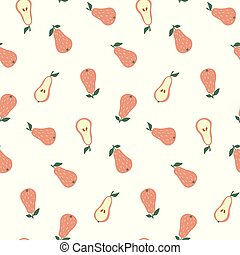 Hand drawn seamless pattern with Pears.