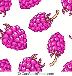 Hand drawn seamless pattern with raspberry. Background for cafe, kitchen or food package
