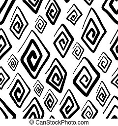 Hand drawn seamless pattern with rhombuses isolated on white background.