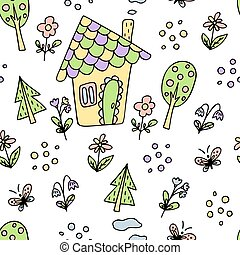 seamless pattern with small house