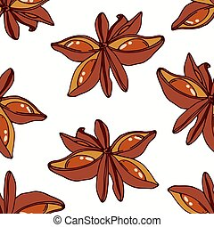 Hand drawn seamless pattern with star anise. Background for cafe, kitchen or food package
