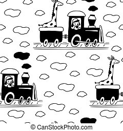 seamless pattern with train, giraffe and dog.