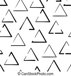 Hand drawn seamless pattern with triangles isolated on white background.
