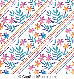 hand drawn seamless pattern with tropical flowers