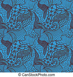 Hand drawn seamless pattern with various elements, waves,...
