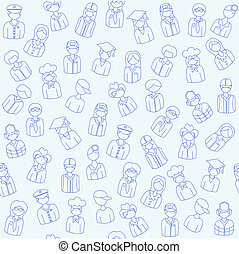 Hand Drawn Seamless People Icons