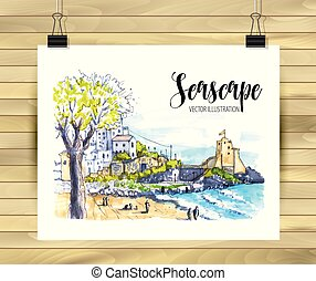 Hand drawn seascape Sketch for your design,Drawn in color ink or markers on white background