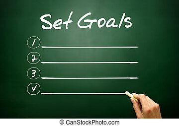 Hand drawn Set Goals blank list concept on blackboard