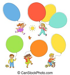 Hand-drawn set of children playing with balloons