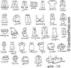 hand drawn set of cloths, doodles