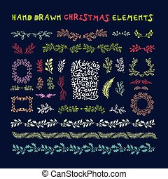 Hand drawn set of colorful wreaths, ribbons, laurel and labels on dark background. Christmas design elements