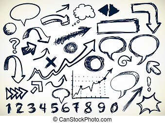 Hand-drawn Set Of Doodles - Hand-drawn Set Of Arrows,...