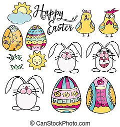 Hand drawn set of Easter design elements. Perfect for holiday decoration and spring greeting cards