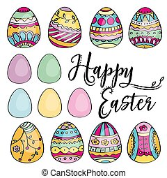 Hand drawn set of Easter eggs. Perfect for holiday decoration and spring greeting cards.